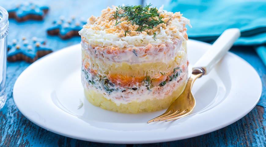 салат мимоза рецепт с фото с горбушей горячего копчения