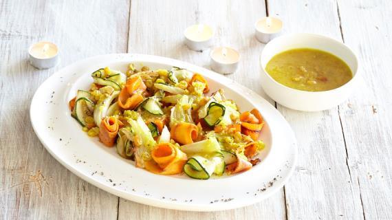 Салат из печеных овощей с заправкой карри