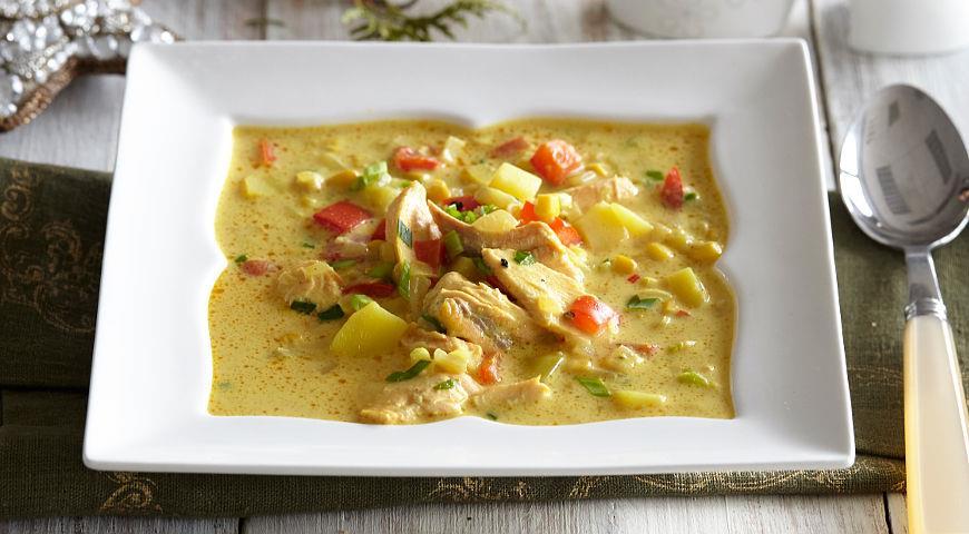 Рецепт Густой сливочный суп с копченой горбушей