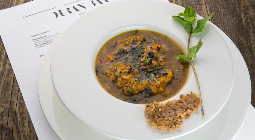 Рецепт Тыквенный суп с чечевицей и телятиной