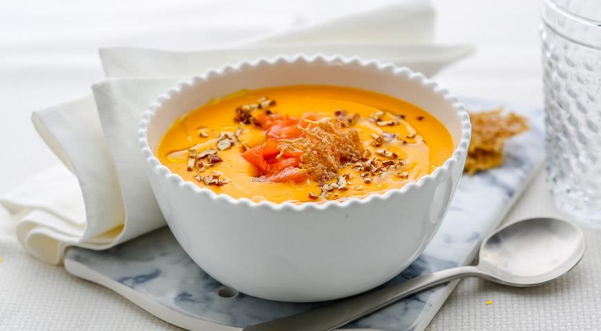Рецепт Тыквенный суп с копченой семгой