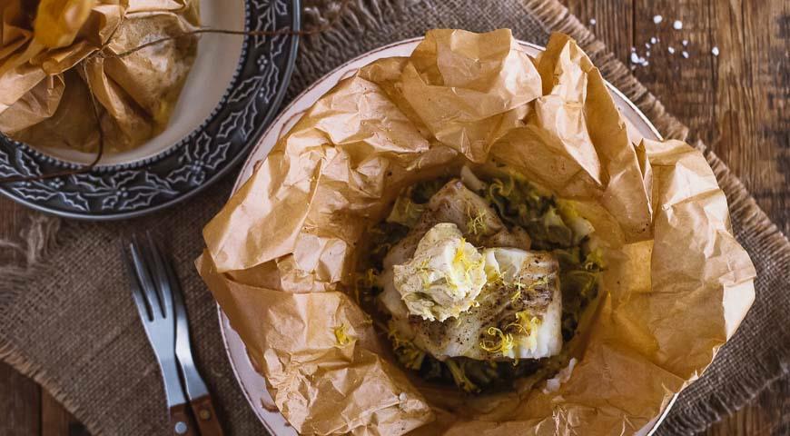 Рецепт Палтус в мешочке с ванильным маслом