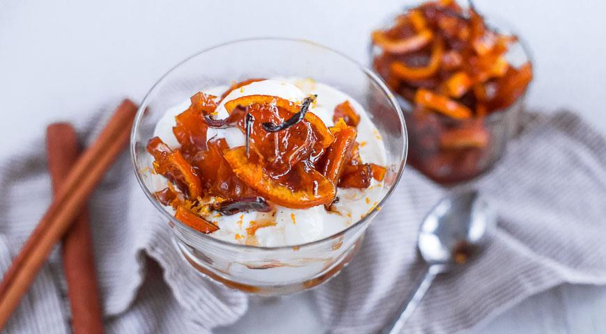 Рецепт Сливочный пломбир с пряными апельсиновыми дольками