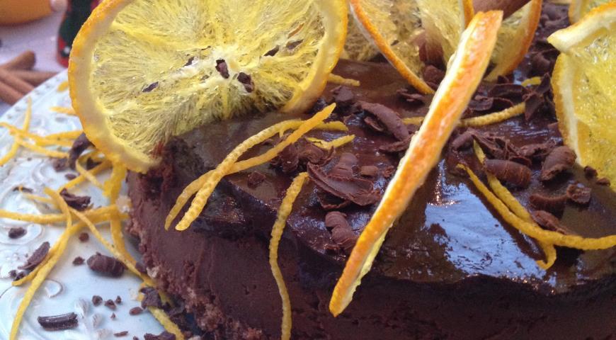 Рецепт Шоколадный чизкейк с апельсиновыми чипсами