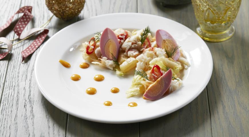 Рецепт Салат из крабов с яйцом и фунчозой