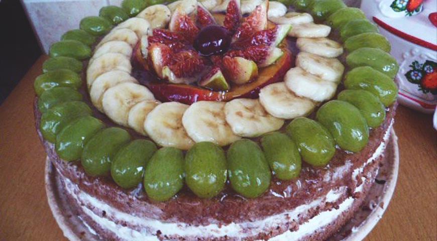 """Рецепт Торт """"Ко дню Рождения""""со сливочно-творожным кремом и фруктами"""