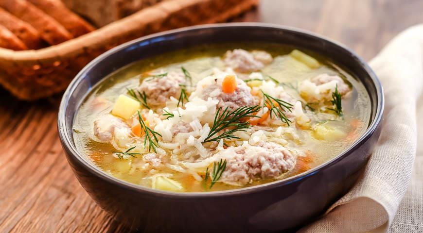 Рецепт Суп рисовый с мясными фрикадельками
