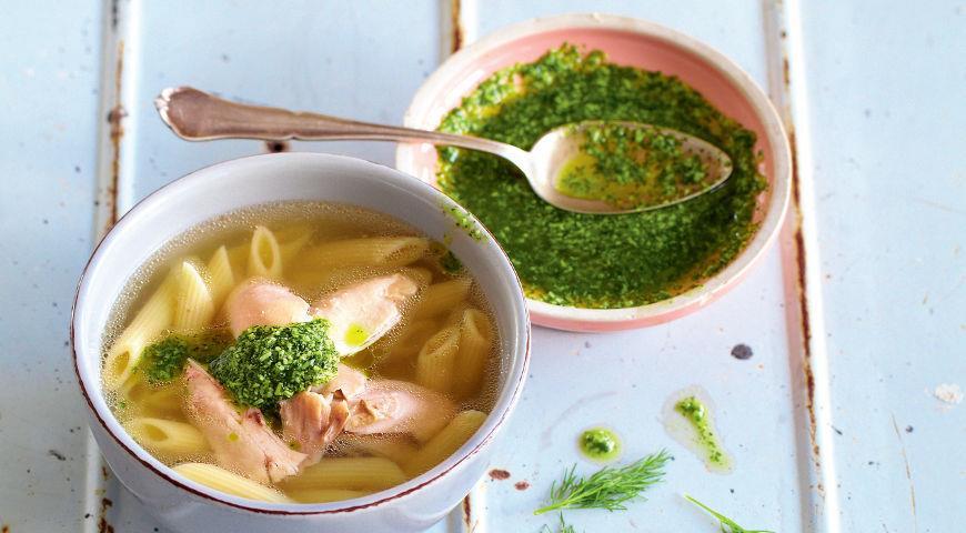 Куриная лапша в новом стиле с песто из укропа, пошаговый рецепт с фото