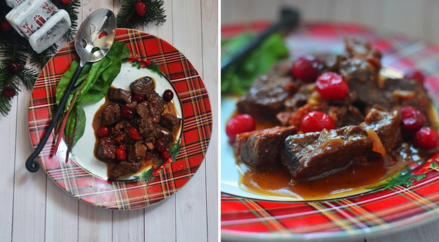 Рецепт Телятина, тушенная в пиве с клюквой и вялеными помидорами