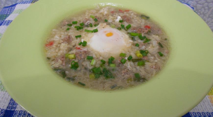 Рецепт Тайский рисовый суп с яйцом