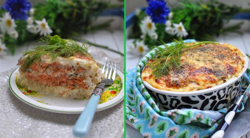 Рецепт Запеканка из лосося с рисом под бешамелем и сыром