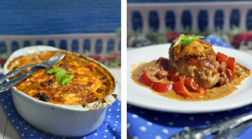 Рецепт Куриное филе с перцами, запеченное в соусе и сыре