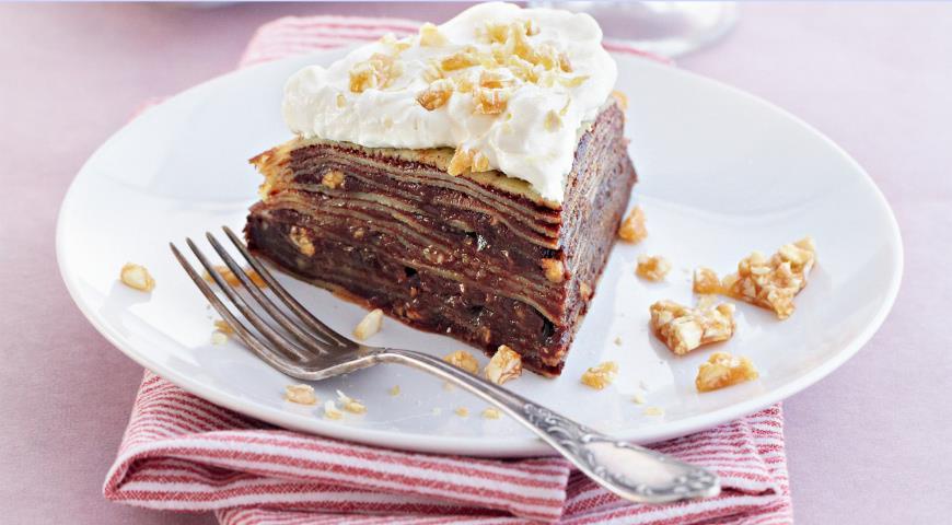 Рецепт Блинный пирог с шоколадным пралине