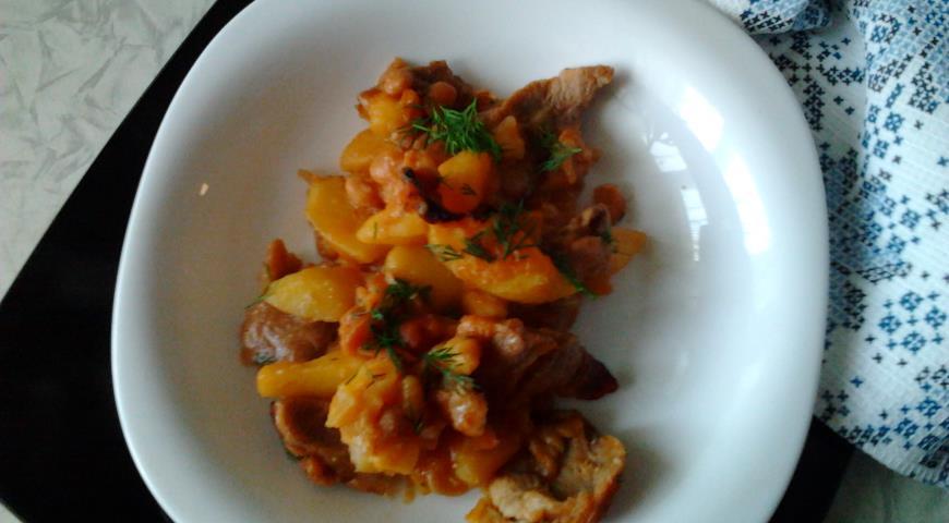 Рецепт Запеченный картофель со свининой и фасолью