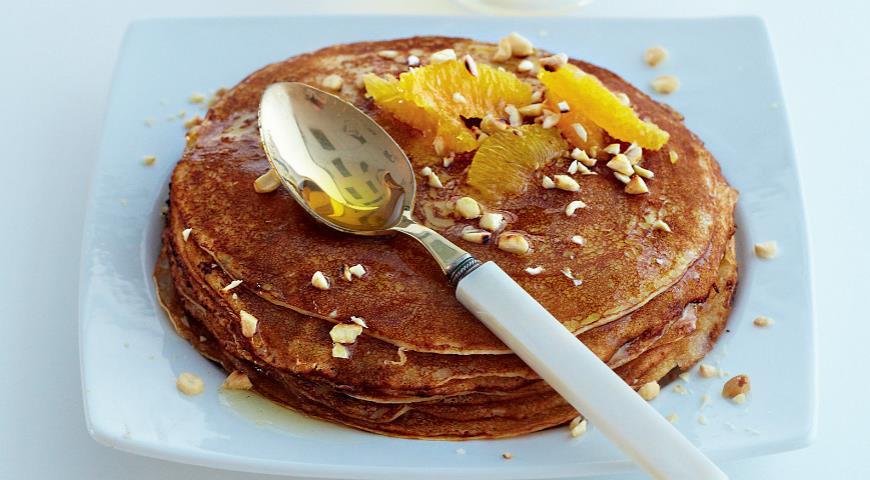 Рецепт Блины на рикотте с апельсинами и медом