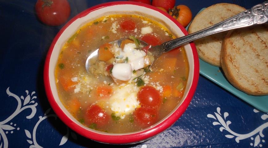 Рецепт Чечевичный суп со шпинатом