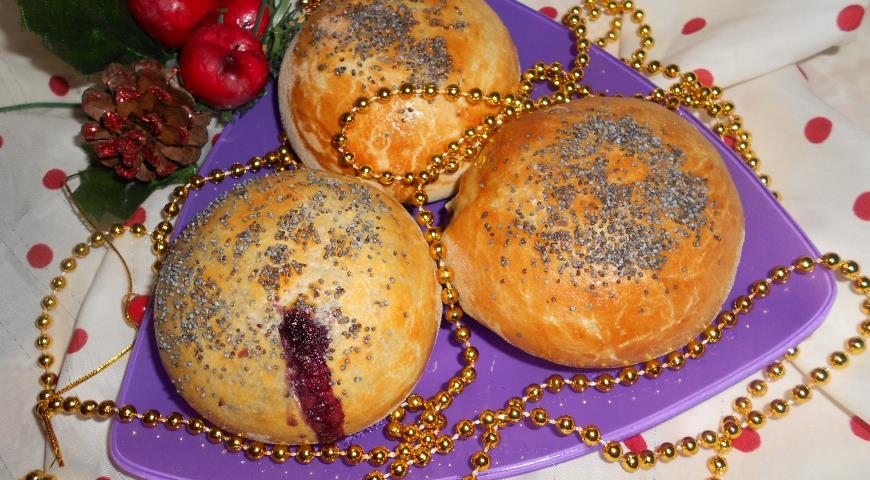 Рецепт Ванильно-маковые булочки с творогом и черникой
