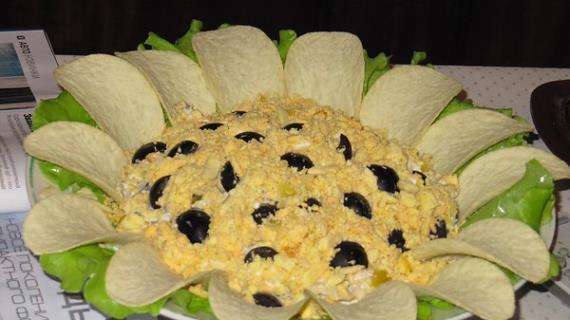 Салат подсолнух пошаговый классический рецепт с