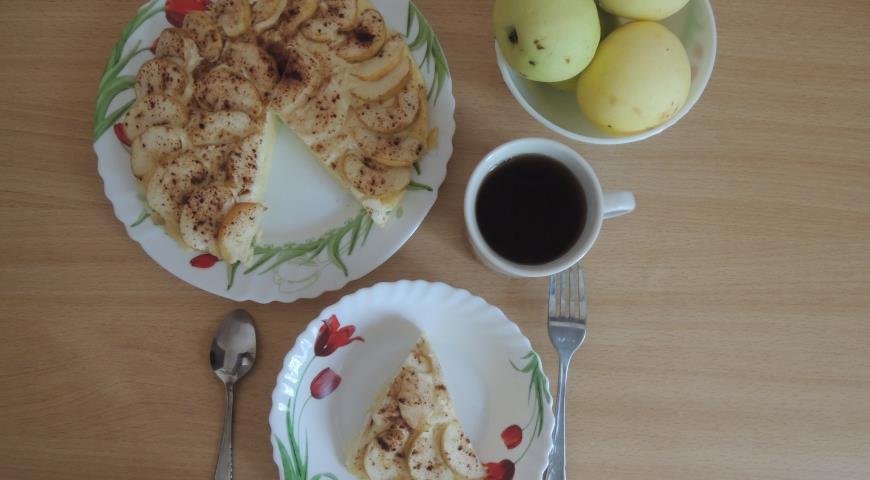Рецепт Зимняя творожная запеканка с яблоками и корицей
