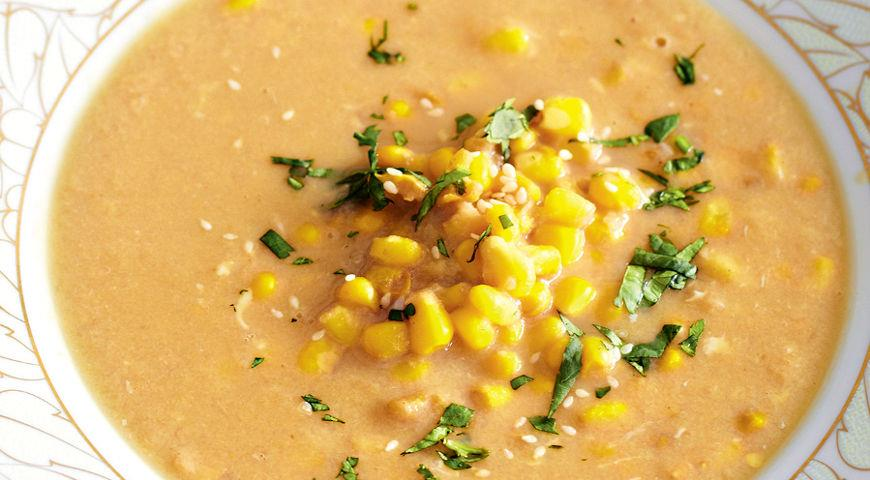 Рецепт Быстрый куриный суп с кукурузой и имбирем