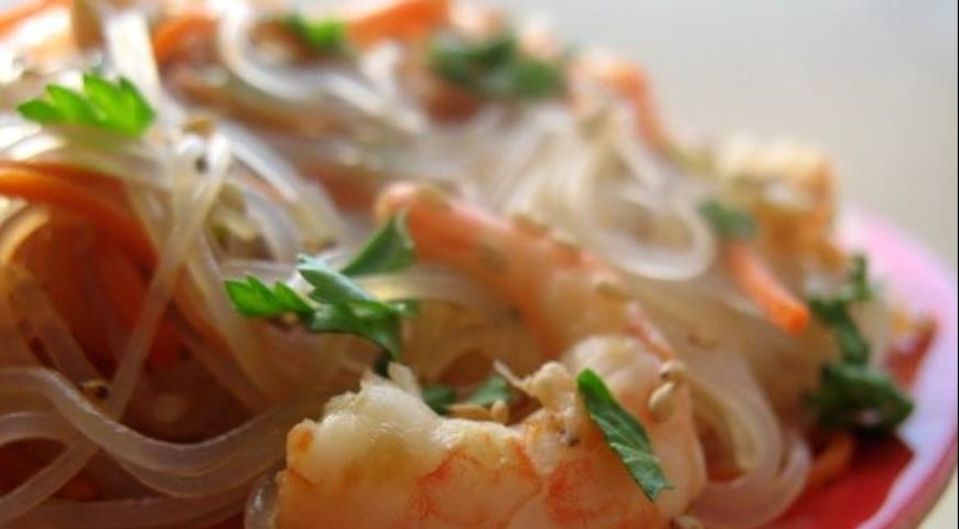 Рецепт Фунчоза с овощами и креветками