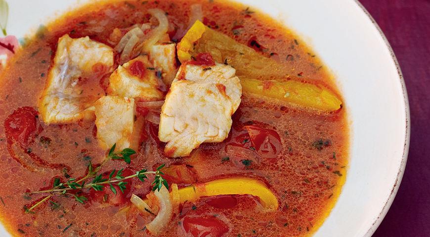 Рецепт Рыбный суп с помидорами и сладким перцем
