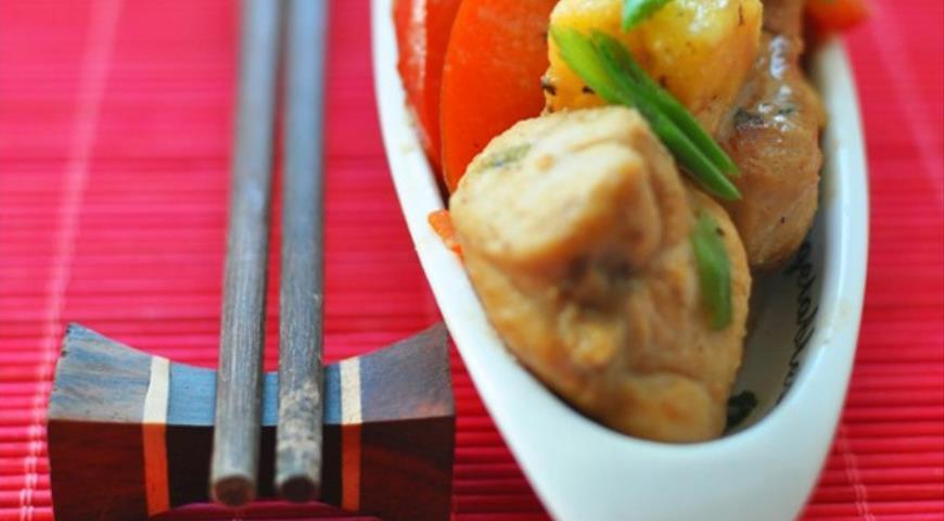 Рецепт Цыпленок с ананасами и овощами по-китайски