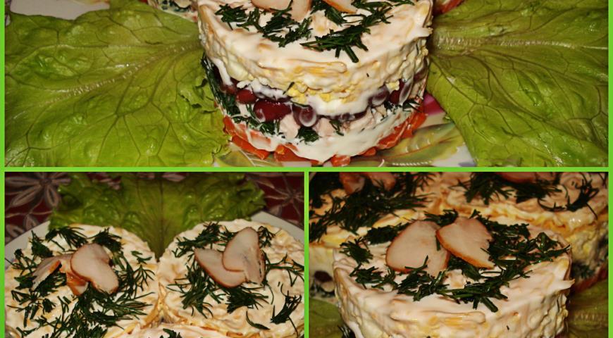 Рецепт Салат с фасолью и копченой куриной грудкой