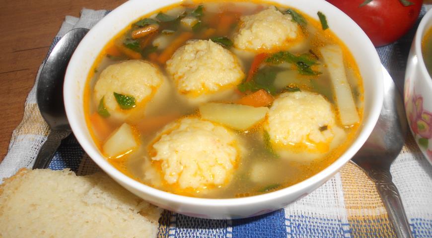 Рецепт Суп с пшенными шариками и снытью