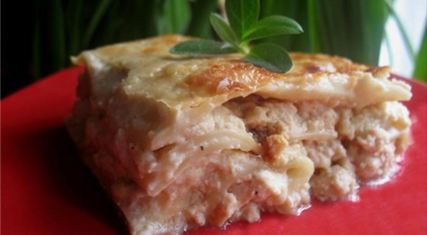 Рецепт Лазанья с курицей и сливочным соусом