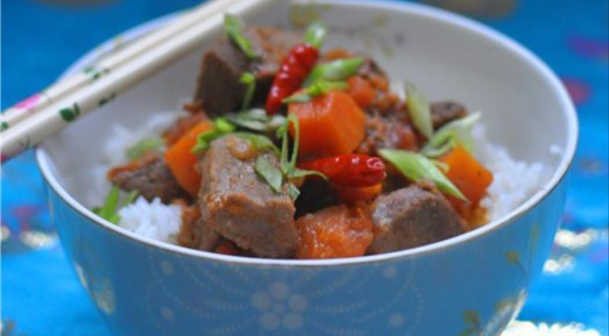 Рецепт Карри из телятины с тыквой и томатами