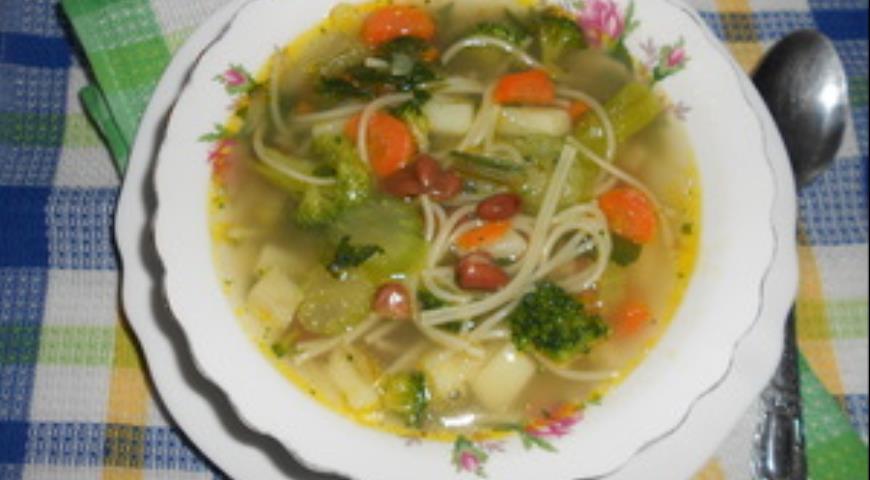 Рецепт Куриный суп с фасолью и спагетти