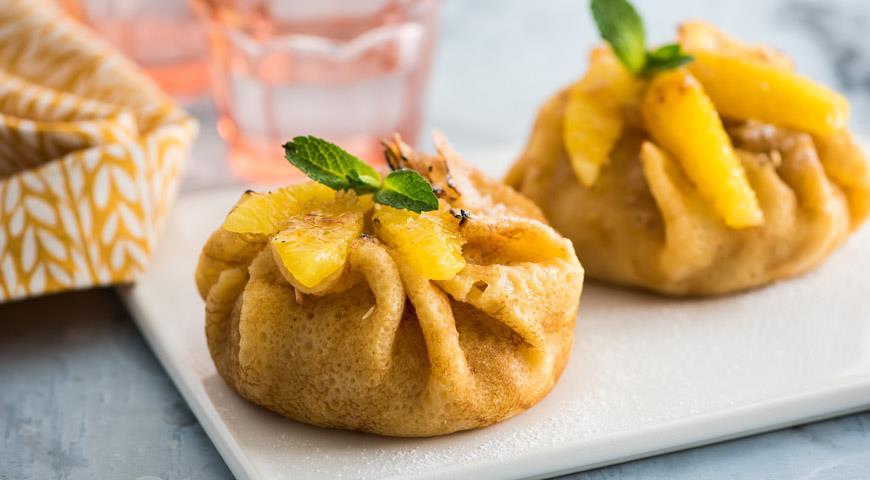 Рецепт Пирожные из блинчиков с апельсинами