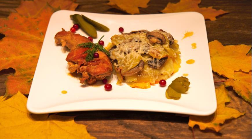 Рецепт Тушеный кролик по-французски с гратеном под сырной корочкой