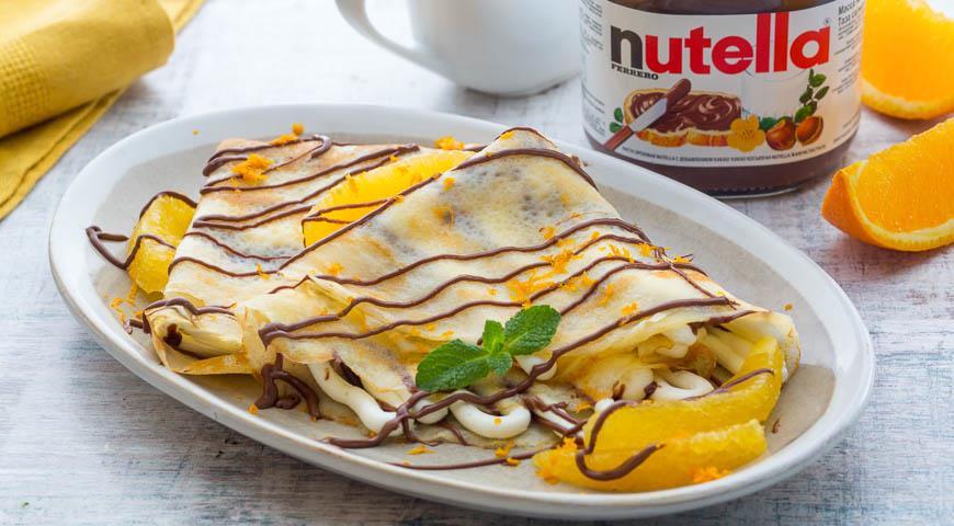 Рецепт Крепы с начинкой из апельсинов и пасты Nutella®