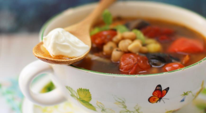 Рецепт Грибная чорба с фасолью