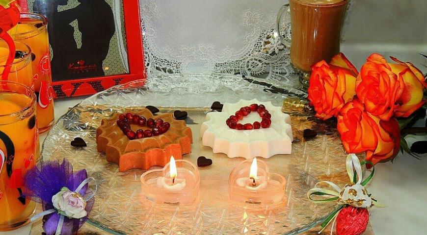 Рецепт Вкусная валентинка. Сердечки-суфле, персики в желе, шоколадная открытка, конфеты ручной работы