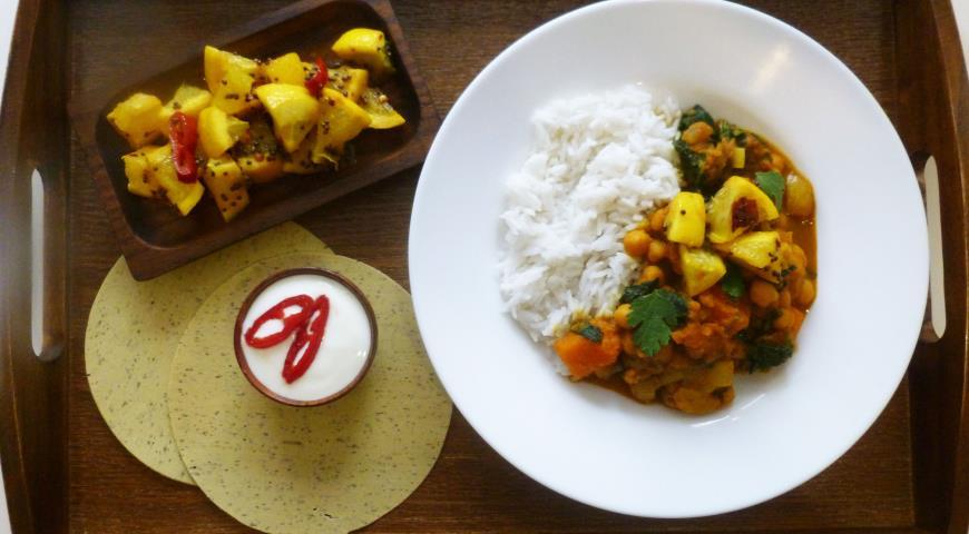 Рецепт Овощное карри с рисом басмати и пряным лимоном