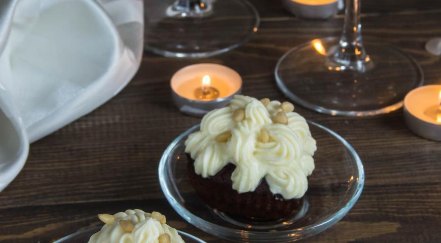 Рецепт Капкейки шоколадные на красном вине с крем чизом