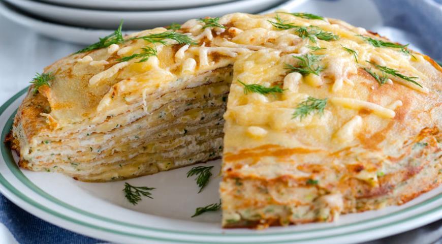 Рецепт Блинный пирог с курицей и грибами