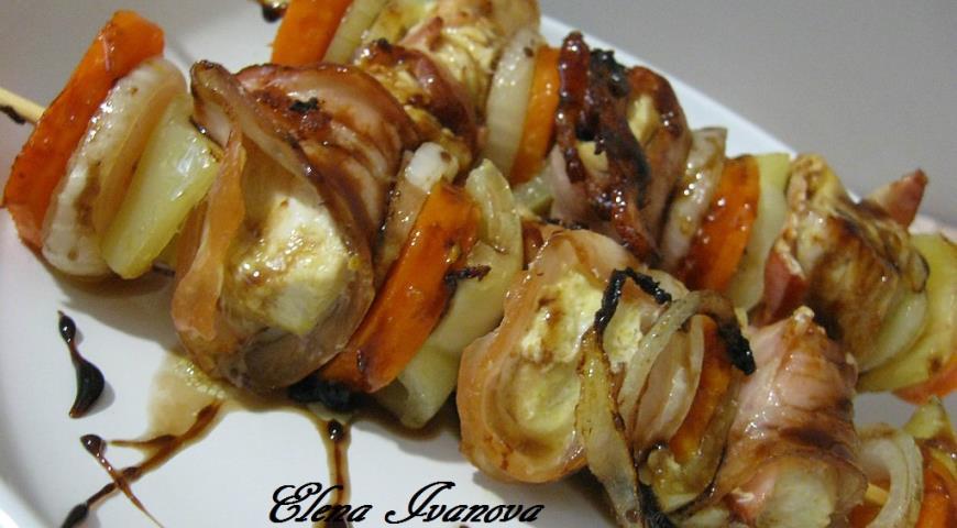 Рецепт Шашлык из курицы с овощами