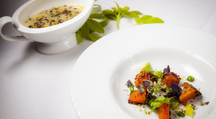 Рецепт Крем-суп из топинамбура с печеной тыквой