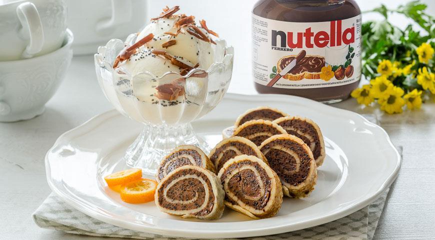 Рецепт Богемские блинчики с маковой начинкой и пастой Nutella®