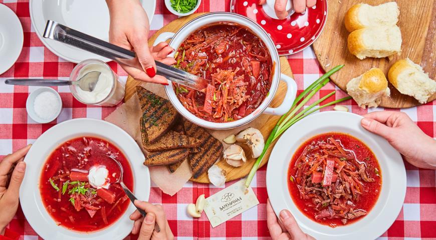 Рецепт Традиционный борщ с фасолью и говядиной