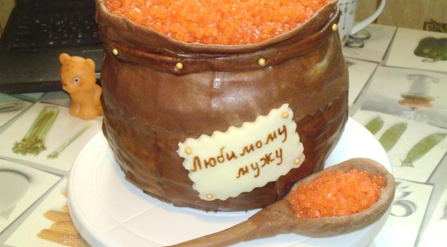 Торт бочонок с икрой фоторецепт