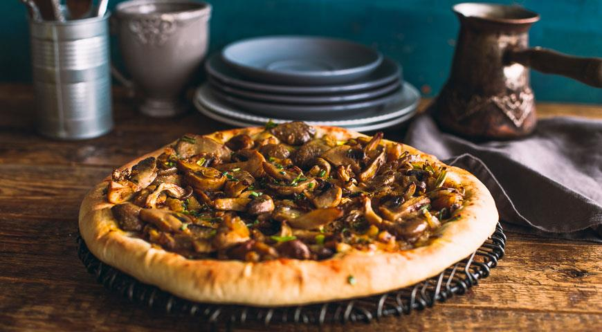 Рецепт Постный открытый пирог с грибами