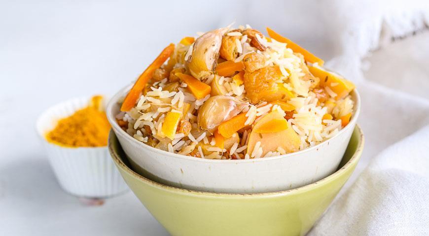Рецепт Постный плов с овощами и сухофруктами