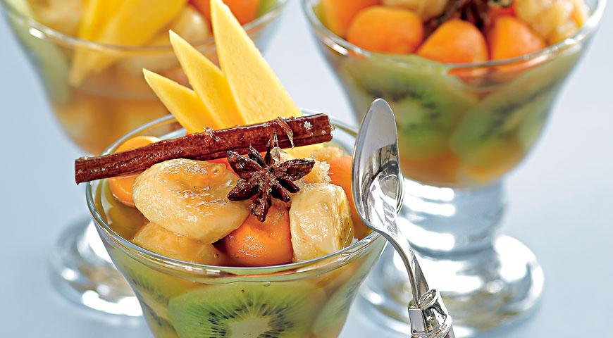Рецепт Экзотические фрукты с имбирным сиропом