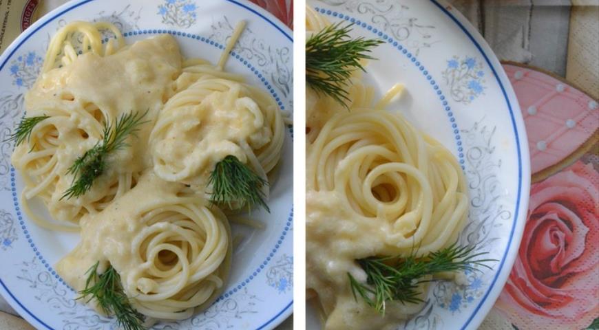 Рецепт Спагетти с густым сырным соусом