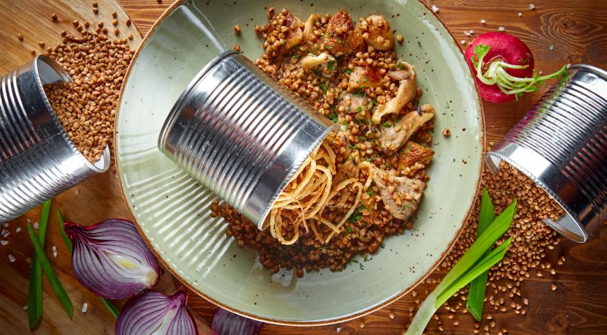 Рецепт Гречневая каша с вешенками и белыми грибами